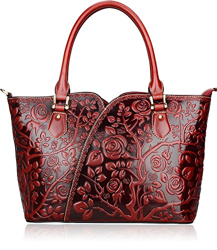 PIFUREN Women Top Handle Satchel Handbags Floral Tote Purse (Y72328, Red) by PIFUREN