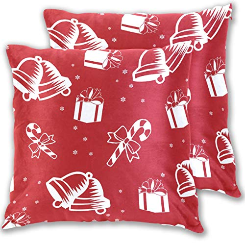 for Bed Christmas Element Xmas Style Double Sided Cotton Velvet Square Pillow Slipcovers 20x20 Inch Decorative Pillows for Bedroom,Set of 2 ()