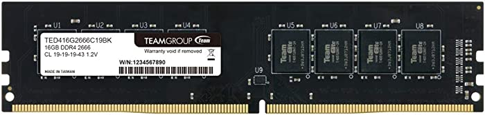 TEAMGROUP Elite DDR4 16GB Single 2666MHz (PC4-21300) CL19 Unbuffered Non-ECC 1.2V UDIMM 288 Pin PC Computer Desktop Memory Module Ram Upgrade - TED416G2666C1901 - (1x16GB) Single