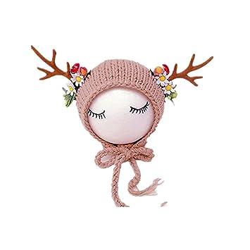 Newborn Baby Photography Props Boy Girl Crochet Costume Outfits Cute Deer  Hat (Beige) c3361e7ed8f2