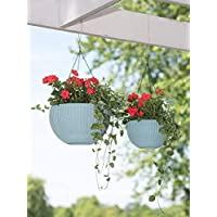 YOUNG CRAFTS UV Treated Plastic Pots with Hanging Chains for Plants and Garden Decor (Pack of 2) White Color