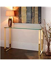 Garza Modern Tempered Glass with Gold Stainless SteelConsole Table, Ideal for Living Room, Entryway