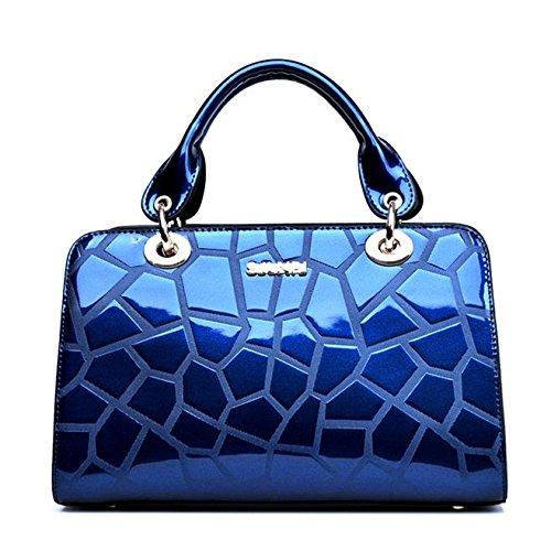 SANSJI Bolso de mano bolso de hombro en elegante elegante elegante elegante charol de mujer Azul