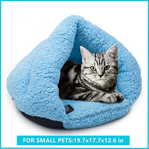 Cozy Cat Cuddle Cave Bed, Pet Tent Cave Bed with Anti Slip Bottom for Small Dog Cat Kitty Puppy Animals, Soft Warm Fleece Cat Sleeping Bag Dog Slipper Bed Burrow House Hole Igloo Triangle Cat Nest