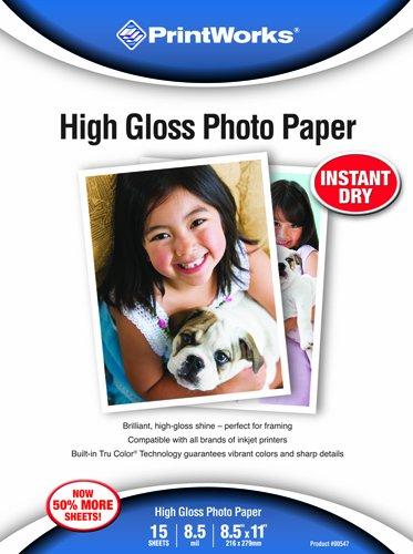 Printworks High Gloss Photo Paper, 8.5 Mil, Inkjet, 15 Sheet