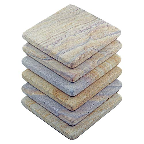 Stella Purple Desert Sandstone Drink Coasters - Set of 6 - Premium Absorbent Natural Stone