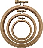3 inch wood embroidery hoops - DIY Arts and Crafts Wooden 6 Piece Round Embroidery, Cross Stitch or Quilting Hoop Set - A Small Teaching Set for Kids that includes 2 of each size - 3 inch, 4 inch and 5 inch
