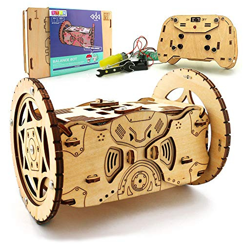 (3D Wooden Puzzle Remote Control Car Robot Kit – DIY Kids Robotics Balancing RC Car)