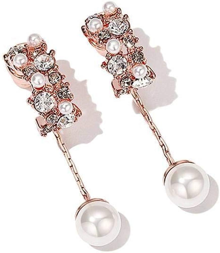 Pendientes Wbeiba-Pendientes para mujer-Pendientes semicirculares de piedras preciosas pendientes largos de perlas de imitación