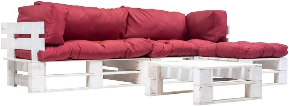 UnfadeMemory Sofa Palets Exterior con Mesa de Centro y Cojines,Sofá de Jardín,Sofás de Interior,Respaldo Extraíbles,Rústico,Sofás 220x126x65cm,Madera FSC (Rojo y Blanco): Amazon.es: Hogar