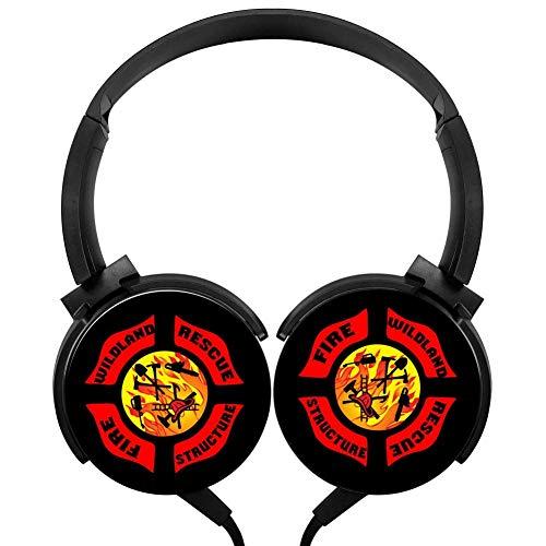 PjNnt Field Fireman Bass Subwoofer Wired Headphones Stereo HiFi Over-Ear Earphone Black