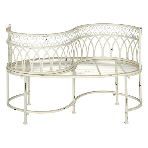 Safavieh Outdoor Collection Lara Kissing Antique White Bench