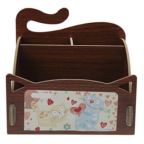 FakeFace DIY Holz Aufbewahrungsbox Kosmetische Desktop Schmuckkästchen mit 3 Fächern Multifunktion Holzbox für Büro und Hause, 15.3*13.2*13.5cm