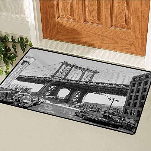 (Landscape Inlet Outdoor Door mat Brooklyn New York USA Landmark Bridge Street with Cars Photo Catch dust Snow and mud W35.4 x L47.2 Inch Black White and Charcoal Grey)