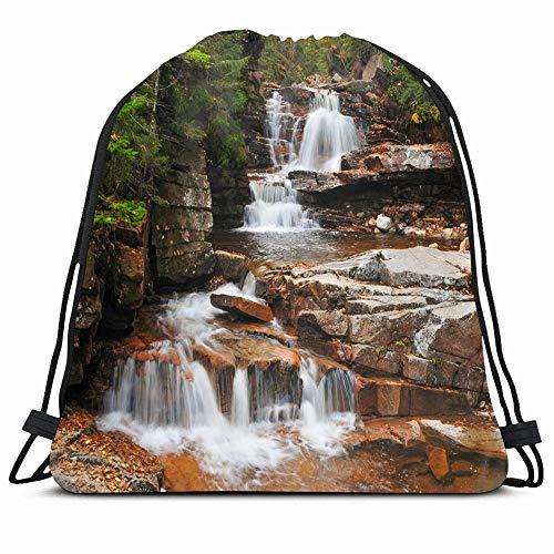 Ahawoso Drawstring Backpack String Bag Plant Green Areuthsa Coliseum Falls New Hampshire Usa Forest Nature Waterfall Parks Trail Autumn Sport Gym Sack Hiking Yoga Travel Beach (New Hampshire Fall Colors Best Time)