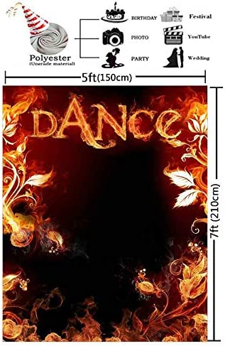 GESEN Dance Backdrop 5x7ft Flame Flower Photo Background Themed Party Backdrop Photo Props Indoor Mural PGGE874