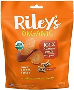 Riley's Organics - Sweet Potato - 5 oz Small Biscuits - Human Grade Organic Dog Treats - Resealable Bag
