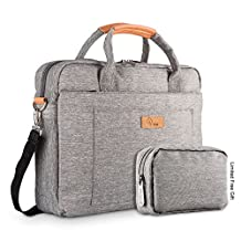 E-Tree 15-15.6 Inch Laptop and Tablet Bag, Shock & Water Resistant Sleeve Briefcase for Macbooks/Ultrabooks/Chromebooks/Notebooks w/ Handle & Carrying Shoulder Strap - Grey