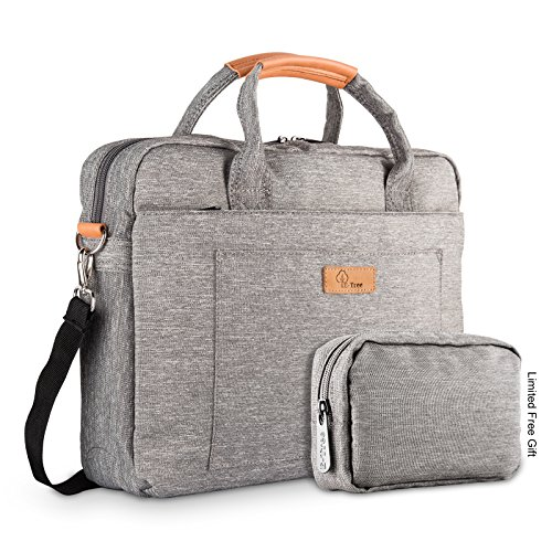 E-Tree 15-15.6 Inch Laptop and Tablet Bag, Shock & Water Resistant Sleeve Briefcase for Macbooks/Ultrabooks/Chromebooks/Notebooks w/ Handle & Carrying Shoulder Strap – Grey