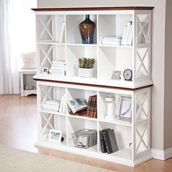 Belham Living Hampton Console Table 2 Shelf Bookcase, White Oak