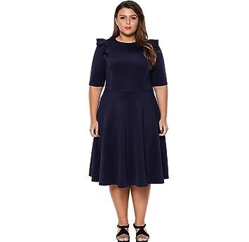 LUCKY-U Vestido De La Mujer Más Tamaño, Vestido Formal Azul Marino Fiesta De