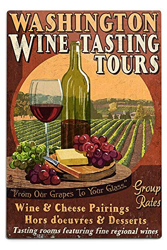 Lilyanaen New Great Washington Wine Tasting Vintage Sign Aluminum Wall Sign Wall Decor Ready to Hang for Outdoor & Indoor 12 x 18 -