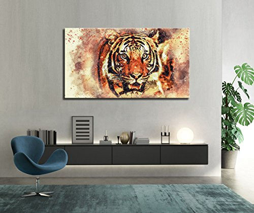 Colorful Abstract Animal Paintings Wall Art Forest King Tiger Head