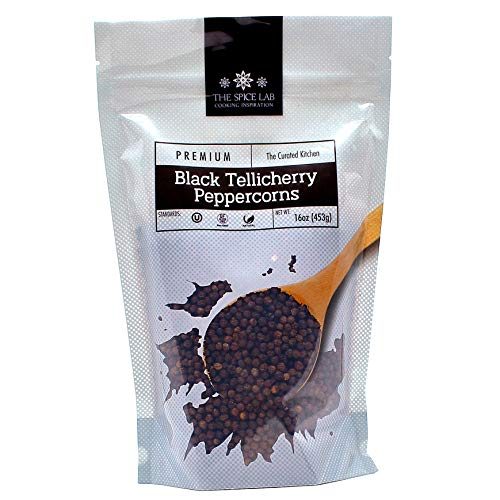 The Spice Lab Peppercorns -Tellicherry Whole Black Peppercorns for Grinder Refill - 1 Pound Bag - Steam Sterilized Kosher Packed in the USA - All Natural Peppercorns - Pepper Grinder / Pepper Mill
