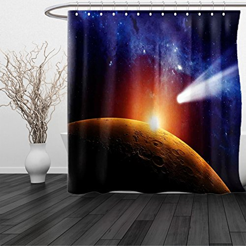 HAIXIA Shower Curtain Outer Space Comet Tail Approaching Planet Mars Fantastic Star Cosmos Dark Solar System Scenery Bue Orange 68x75 by HAIXIA