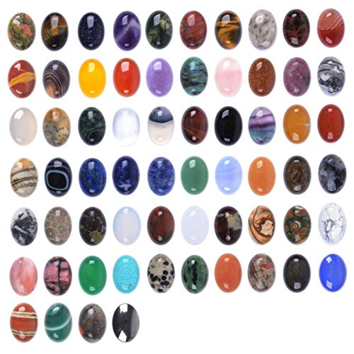 (Wholesale Lot 24pcs Multi-color 18mm Gemstone Oval Cab Cabochon For Jewelry Making)