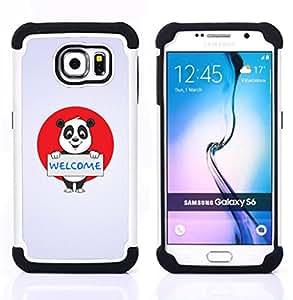 BullDog Case - FOR/Samsung Galaxy S6 G9200 / - / Friendly Welcome Panda Sign /- H??brido Heavy Duty caja del tel??fono protector din??mico - silicona suave