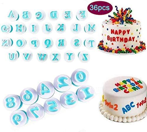 Lettera Alfabeto Numero Stantuffo Tagliabiscotti Decorare Stampo per fondente per Matrimonio Compleanno Baby Shower Decorazioni per torte natalizie Confezione da 36 pezzi