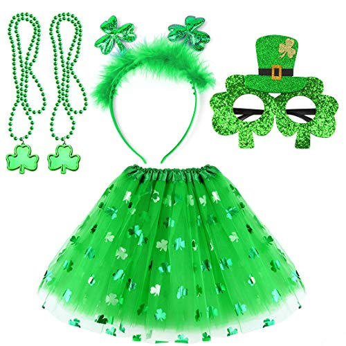 St Patricks Day Accessories Party Favors Irish Costume Decorations Shamrock Headband Bead Necklaces Glasses and Dress