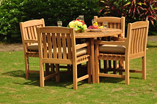 TeakStation 4 Seater Grade-A Teak Wood 5 Pc Dining Set: 48