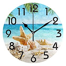 Naanle 3D Beautiful Tropical Summer Beach Starfish Shell on Sand Print Round Wall Clock Decorative, 9.5 Inch Battery Operated Quartz Analog Quiet Desk Clock for Home,Office,School