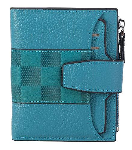 cc1507bf54e6 AINIMOER Women's RFID Blocking Leather Small Compact Bi-fold Zipper Pocket  Wallet Card Case Purse(Stitched Sky Blue)