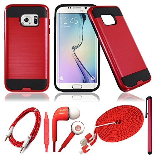 QCO WIRELESS Rugged Shock Proof Case + 6ft USB Cable + Aux + In-Ear Stereo Headset & Stylus Pen Kit for (MetroPCS/ Boost) Samsung Galaxy S7 (5 Item Bundle – Metal Red)