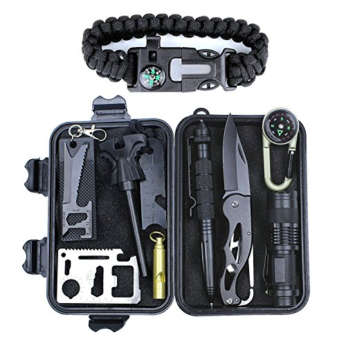 Aizhy Patch-Up Survival Kit Contains 12 Lifesaving Emergency Tools for Home, Outdoors Hiking Camping Disaster Preparedness & Wilderness Adventures. Compact Shockproof & Waterproof Case