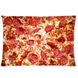 Custom Funny Pepperoni Cheese Pizza Background Rectangle Pillow Case 20 X 30 Inch cloth simulation Zippered Pillow Cover - Lljpcovers One side Print