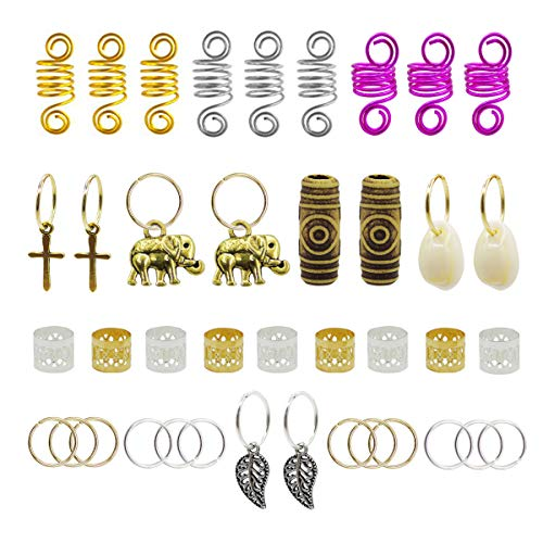 120pcs Dredlock Beads Accessories, Grosun Hair Charms Pendants Hair Rings Braid Cuffs Braid Hair Accessories Braid for