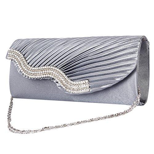 Bag Party Handbag with Wedding Dark Shoulder Grey Ladies' Chain Satin Evening xwqOYZnnIE