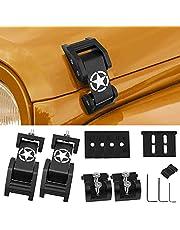 FlyOX Hood Latches Catch Kit Aluminum Alloy Hood Locks for for 2007-2018 Jeep Wrangler JK JKU & 2018-2020 Jeep Wrangler JL JLU and Jeep Gladiator JT, Jeep Wrangler Accessories Parts (Black)