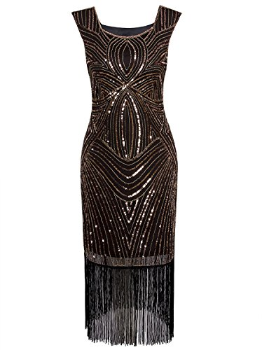 Vijiv Women's 1920s Vintage Gatsby Inspired Beaded Long Fringe Party Flapper Dress With Sleeves,Black Gold,X-Small -