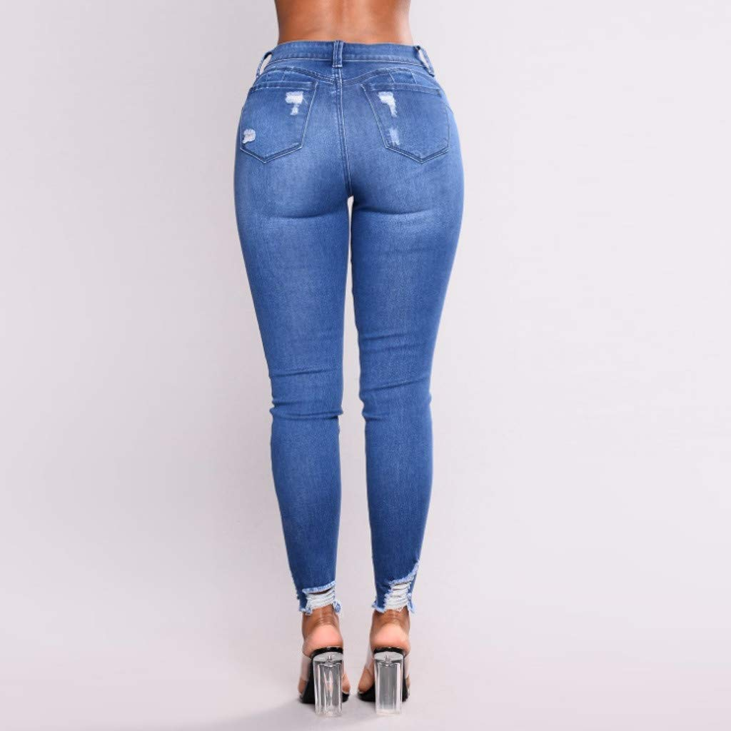 nobrand Jeans Blu Jeans a Vita Alta da Donna Skinny Fitness Fori Elasticizzati Pantaloni a Matita Casual Tasche a Bottone Vita Alta Femminile