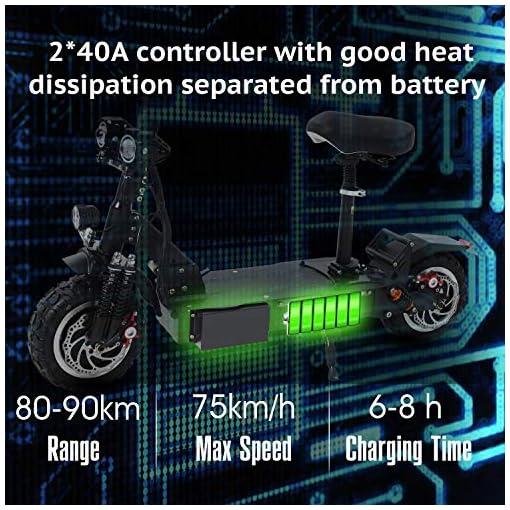GUNAI Trottinette électrique avec Siège 3200W Hors Route de 11 Pouces pour Pneus, avec Afficheur Multifonctions et Recharge USB