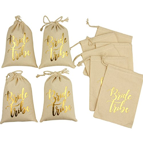 10pcs Wedding Party Favor Bags 5x7 inch Gold FOIL Bride Tribe White Bridesmaid Gift Bags for Bridal Shower Bachelorette Hangover Kit Bags Recovery Kit Bags Cotton Muslin Drawstring Bag by Memory Journey