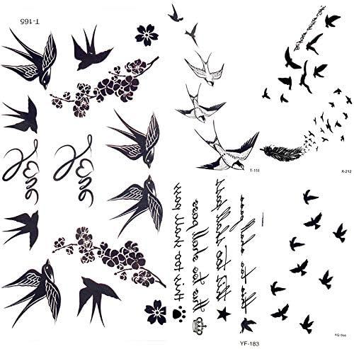 yyyDL tatuajes temporales Linda golondrina BirdTemporary pegatinas ...
