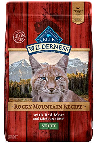 Cat Meat Dog Food - Blue Buffalo Wilderness Rocky Mountain Recipe High Protein Grain Free, Natural Adult Dry Cat Food, Red Meat 10-lb