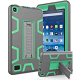 "All-New Amazon Kindle Fire 7 (2017 7th Generation),Topsky Three Layer Armor Defender Full Body Protective Case Cover For Amazon Kindle Fire 7"",Grey/Green"
