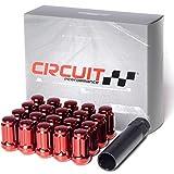 Circuit Performance Spline Drive Tuner Acorn Lug Nuts Red 12x1.5 Forged Steel (20pc + Tool)